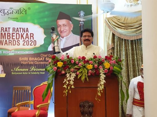 Dr  Abdul Rahman Vanoo Of Swachh Bharat Abhiyan Maharashtra Convener was honored with the Bharat Ratna Dr Ambedkar Award by the Governor of Maharashtra Shri Bhagat Singh Koshiyari.