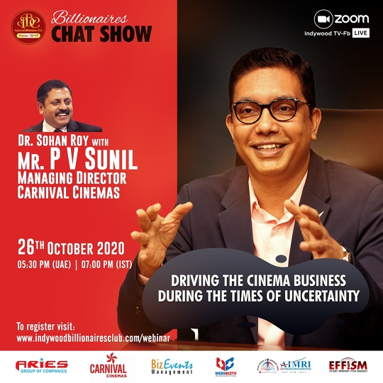 Indywood Billionaires Chat Show features a candid interview with a respected face in the Entertainment Industry, Mr. PV Sunil